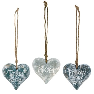 "Set of three ceramic hearts on jute cords that can be used multiple ways - ornaments, package ties, craft projects. Measures approximately 2.5"" x 2.5""."