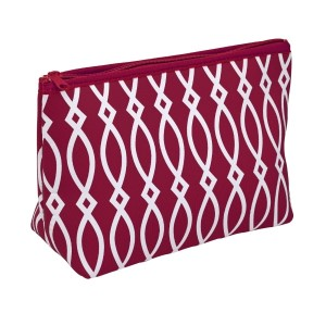 "Small neoprene zipper pouch with a maroon and white print. Perfect for monogramming! Measures approximately 10.5"" x 7"" x 3"" in size."