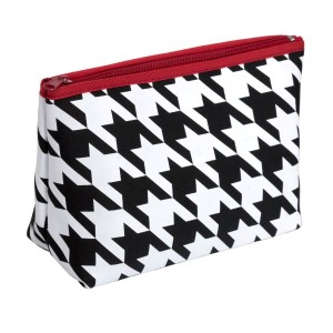 "Small neoprene zipper pouch with a houndstooth print. Perfect for monogramming! Measures approximately 10.5""  x 7"" x 3"" in size."