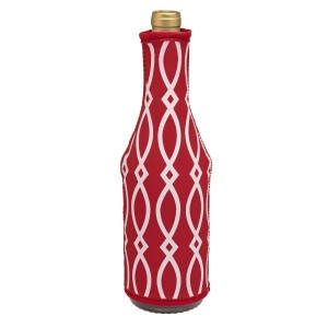 Insulated, neoprene, wine coozie with a crimson and white print. Perfect for monogramming and is machine washable.