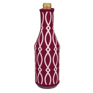 Insulated, neoprene, wine coozie with a maroon and white print. Perfect for monogramming and is machine washable.