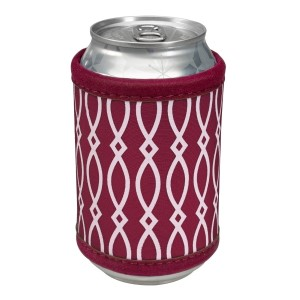 "Neoprene velcro, maroon and white coozie that fits bottle, cans, and flasks. Perfect for monogramming! Measures approximately 4"" x 9"" in size."