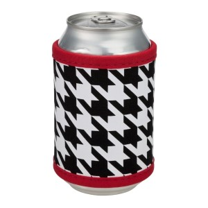 """Neoprene velcro, houndstooth coozie that fits bottle, cans, and flasks. Perfect for monogramming! Measures approximately 4"""" x 9"""" in size."""