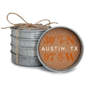 """Set of four mason jar coasters with the coordinates of Austin, Texas. Each lid measures approximately 4"""" in diameter."""