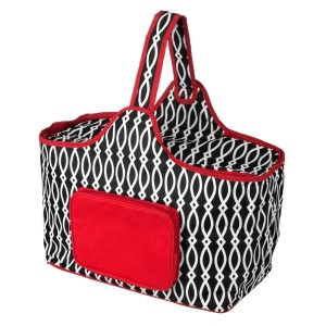 "Black and red cooler features: 1.75 cubic feet of storage space, ability to hold 48 twelve ounce cans, full insulation, two sided zipper and a front pocket that's perfect for monogramming. Cooler bag measures 20"" x 15"" x 10"" and has a 17"" handle."