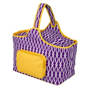 "Purple and yellow cooler features: 1.75 cubic feet of storage space, ability to hold 48 twelve ounce cans, full insulation, two sided zipper and a front pocket that's perfect for monogramming. Cooler bag measures 20"" x 15"" x 10"" and has a 17"" handle."