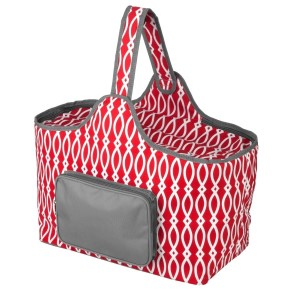 "Red and gray cooler features: 1.75 cubic feet of storage space, ability to hold 48 twelve ounce cans, full insulation, two sided zipper and a front pocket that's perfect for monogramming. Cooler bag measures 20"" x 15"" x 10"" and has a 17"" handle."