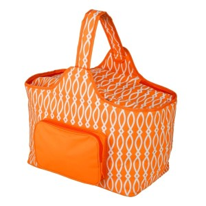 "White and orange cooler features: 1.75 cubic feet of storage space, ability to hold 48 twelve ounce cans, full insulation, two sided zipper and a front pocket that's perfect for monogramming. Cooler bag measures 20"" x 15"" x 10"" and has a 17"" handle."