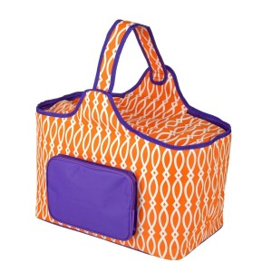 "Purple and orange cooler features: 1.75 cubic feet of storage space, ability to hold 48 twelve ounce cans, full insulation, two sided zipper and a front pocket that's perfect for monogramming. Cooler bag measures 20"" x 15"" x 10"" and has a 17"" handle."