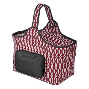 "Maroon and black cooler features: 1.75 cubic feet of storage space, ability to hold 48 twelve ounce cans, full insulation, two sided zipper and a front pocket that's perfect for monogramming. Cooler bag measures 20"" x 15"" x 10"" and has a 17"" handle."