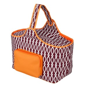 "Maroon and orange cooler features: 1.75 cubic feet of storage space, ability to hold 48 twelve ounce cans, full insulation, two sided zipper and a front pocket that's perfect for monogramming. Cooler bag measures 20"" x 15"" x 10"" and has a 17"" handle."