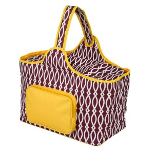 "Maroon and yellow cooler features: 1.75 cubic feet of storage space, ability to hold 48 twelve ounce cans, full insulation, two sided zipper and a front pocket that's perfect for monogramming. Cooler bag measures 20"" x 15"" x 10"" and has a 17"" handle."