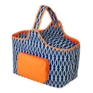"Navy blue and orange cooler features: 1.75 cubic feet of storage space, ability to hold 48 twelve ounce cans, full insulation, two sided zipper and a front pocket that's perfect for monogramming. Cooler bag measures 20"" x 15"" x 10"" and has a 17"" handle."