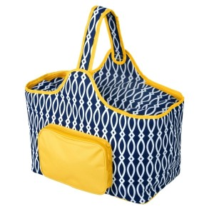 "Navy blue and yellow cooler features: 1.75 cubic feet of storage space, ability to hold 48 twelve ounce cans, full insulation, two sided zipper and a front pocket that's perfect for monogramming. Cooler bag measures 20"" x 15"" x 10"" and has a 17"" handle."