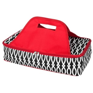"Black and red casserole carrier features thermal insulation, fits up to a 13x9 dish, a full zipper and a centered handle. Handle is perfect for monogramming and showing team spirit! Carrier measures 11.25"" x 15.75"" x 3"" in dimension and can we wiped clean if needed."