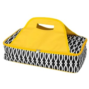 "Black and yellow casserole carrier features thermal insulation, fits up to a 13x9 dish, a full zipper and a centered handle. Handle is perfect for monogramming and showing team spirit! Carrier measures 11.25"" x 15.75"" x 3"" in dimension and can we wiped clean if needed."