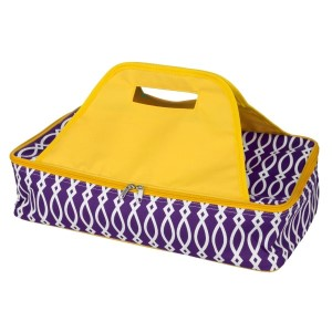 "Purple and yellow casserole carrier features thermal insulation, fits up to a 13x9 dish, a full zipper and a centered handle. Handle is perfect for monogramming and showing team spirit! Carrier measures 11.25"" x 15.75"" x 3"" in dimension and can we wiped clean if needed."