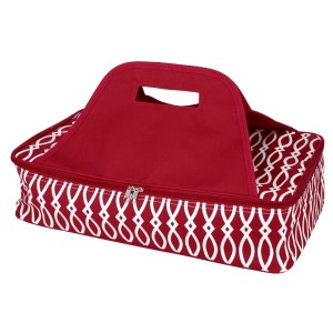 "Crimson and white casserole carrier features thermal insulation, fits up to a 13x9 dish, a full zipper and a centered handle. Handle is perfect for monogramming and showing team spirit! Carrier measures 11.25"" x 15.75"" x 3"" in dimension and can we wiped clean if needed."