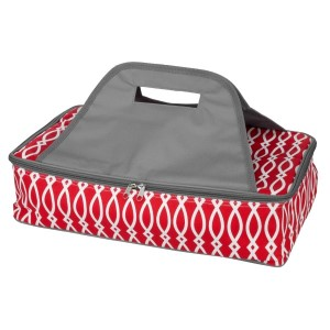 "Red and gray casserole carrier features thermal insulation, fits up to a 13x9 dish, a full zipper and a centered handle. Handle is perfect for monogramming and showing team spirit! Carrier measures 11.25"" x 15.75"" x 3"" in dimension and can we wiped clean if needed."