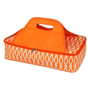 "Orange and white casserole carrier features thermal insulation, fits up to a 13x9 dish, a full zipper and a centered handle. Handle is perfect for monogramming and showing team spirit! Carrier measures 11.25"" x 15.75"" x 3"" in dimension and can we wiped clean if needed."