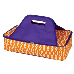 "Purple and orange casserole carrier features thermal insulation, fits up to a 13x9 dish, a full zipper and a centered handle. Handle is perfect for monogramming and showing team spirit! Carrier measures 11.25"" x 15.75"" x 3"" in dimension and can we wiped clean if needed."