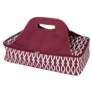 "Maroon and white casserole carrier features thermal insulation, fits up to a 13x9 dish, a full zipper and a centered handle. Handle is perfect for monogramming and showing team spirit! Carrier measures 11.25"" x 15.75"" x 3"" in dimension and can we wiped clean if needed."