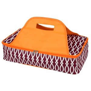 "Maroon and orange casserole carrier features thermal insulation, fits up to a 13x9 dish, a full zipper and a centered handle. Handle is perfect for monogramming and showing team spirit! Carrier measures 11.25"" x 15.75"" x 3"" in dimension and can we wiped clean if needed."