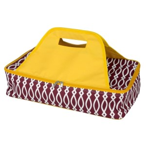 "Maroon and yellow casserole carrier features thermal insulation, fits up to a 13x9 dish, a full zipper and a centered handle. Handle is perfect for monogramming and showing team spirit! Carrier measures 11.25"" x 15.75"" x 3"" in dimension and can we wiped clean if needed."