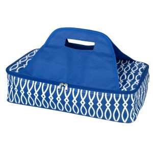 "Royal blue and white casserole carrier features thermal insulation, fits up to a 13x9 dish, a full zipper and a centered handle. Handle is perfect for monogramming and showing team spirit! Carrier measures 11.25"" x 15.75"" x 3"" in dimension and can we wiped clean if needed."