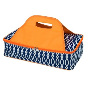 "Navy blue and orange casserole carrier features thermal insulation, fits up to a 13x9 dish, a full zipper and a centered handle. Handle is perfect for monogramming and showing team spirit! Carrier measures 11.25"" x 15.75"" x 3"" in dimension and can we wiped clean if needed."