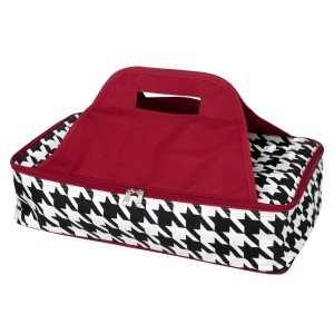 "Houndstooth casserole carrier features thermal insulation, fits up to a 13x9 dish, a full zipper and a centered handle. Handle is perfect for monogramming and showing team spirit! Carrier measures 11.25"" x 15.75"" x 3"" in dimension and can we wiped clean if needed."