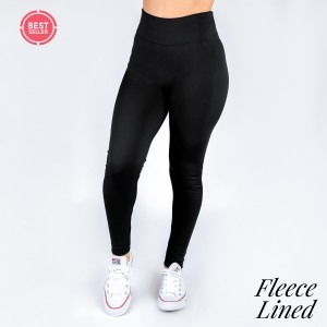 Black fleece lined leggings. One size fits most, full length, winter weight. Offered in everyday essential colors to coordinate with long tops, skirts, or to wear underneath clothing to keep warm. Made of a 92% polyester and 8% Spandex mix.