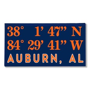 "Canvas wall art with the coordinates of Auburn, AL in your team colors to show your school pride. Canvas measures 10"" x 1.5"" x 19."""