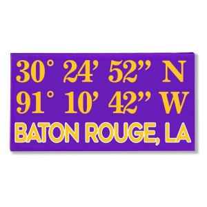 "Canvas wall art with the coordinates of Baton Rouge, LA in your team colors to show your school pride. Canvas measures 10"" x 1.5"" x 19."""
