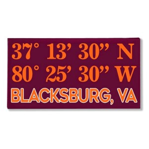 "Canvas wall art with the coordinates of Blacksburg, VA in your team colors to show your school pride. Canvas measures 10"" x 1.5"" x 19."""
