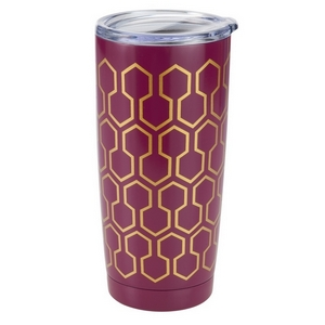 Plum tumbler cup with a hexagonal pattern features: vacuum insulation, 304 grade - 18/8 stainless steel, a BPA free push seal lid, copper coated inner walls, a 20oz capacity, is sweat free, and keeps drinks cold up to 24 hours and hot up to 12 hours.