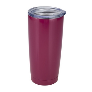 Plum tumbler cup features: vacuum insulation, 304 grade - 18/8 stainless steel, a BPA free push seal lid, copper coated inner walls, a 20oz capacity, is sweat free, and keeps drinks cold up to 24 hours and hot up to 12 hours.
