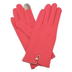 Coral, fleece-lined gloves features touchscreen fingertips, and are accented with a gold button detail.