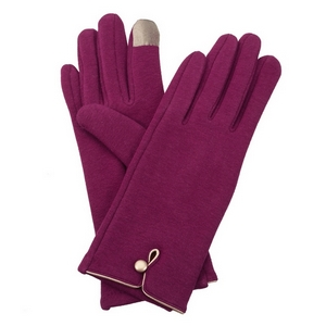 Plum, fleece-lined gloves features touchscreen fingertips, and are accented with a gold button detail.