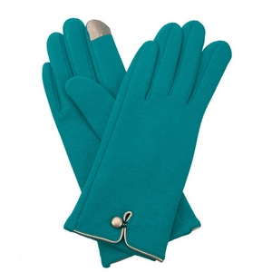 Turquoise, fleece-lined gloves features touchscreen fingertips, and are accented with a gold button detail.