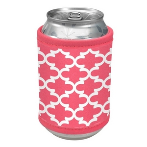 Coral neoprene velcro can cooler with a quatrefoil print.