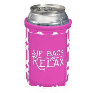 """Can cooler featuring a pocket and the saying """"Sip back & relax."""""""