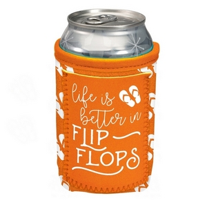 """Orange can cooler featuring a pocket and the saying """"Life is better in flip flops."""""""