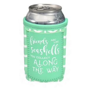 "Can cooler featuring a pocket and the saying ""Friends are like seashells you collect along the way."""