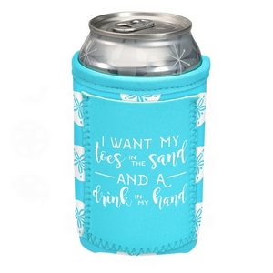 """Can cooler featuring a pocket and the saying """"I want my toes in the sand and a drink in my hand."""""""
