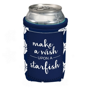 """Can cooler featuring a pocket and the saying """"Make a wish upon a starfish."""""""