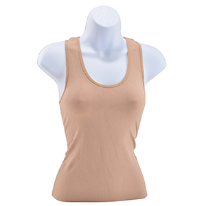Khaki, ribbed, one size fits all, racer back nylon and spandex blend tank top.