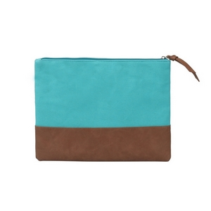 "Teal blue canvas travel bag with a leather bottom measuring 12"" x 9"". Perfect for monogramming."