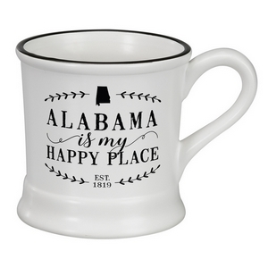 "White ceramic mug that says ""Alabama is my Happy Place"" and hold 14 ounces."