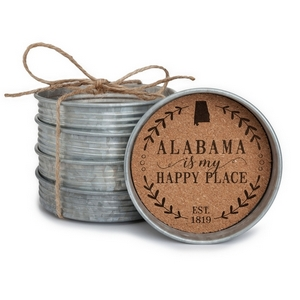 "Four piece mason jar lid coaster set featuring the ""Alabama is my Happy Place"" painted on each. Approximately 4"" in diameter."